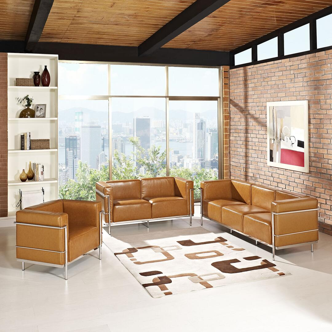 Modway eei1335tan contemporary leather living room set for Living room of satoshi tax