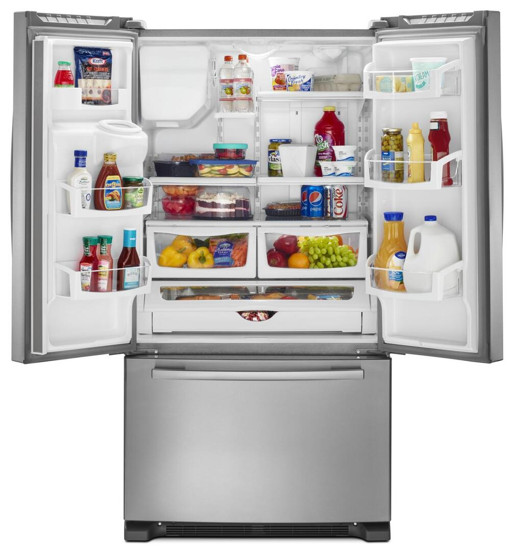 Amana side by side refrigerator reviews -  Amana French Doors Open With Content