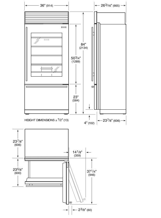 Sub Zero Bi36ugsphrh 36 Inch Counter Depth All