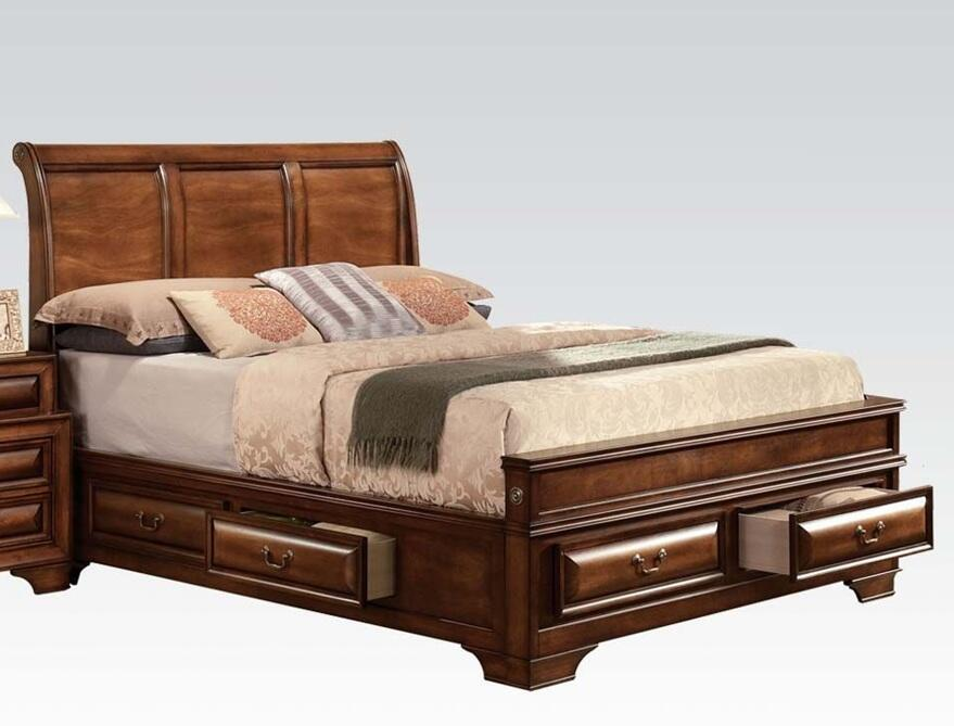 Acme furniture 20444ek konane series king size panel bed for Furniture connection