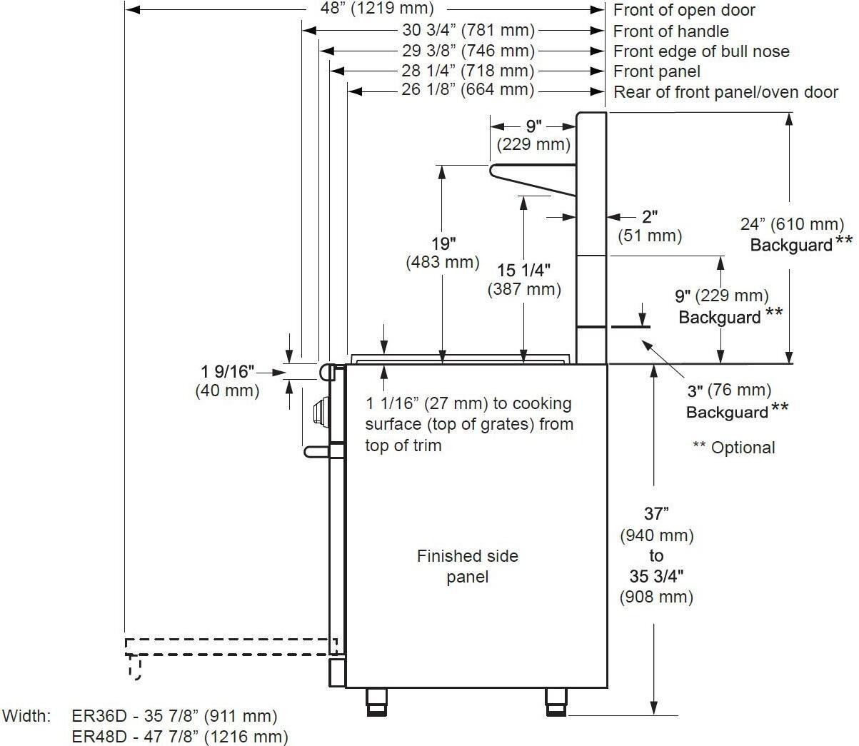 dacor er48dclp 48 renaissance series gas standing dacor renaissance dimensions