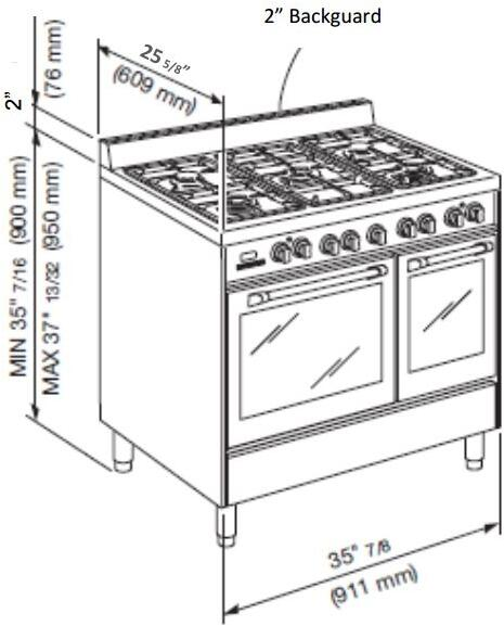 verona vefsee365dss 36 inch electric freestanding range
