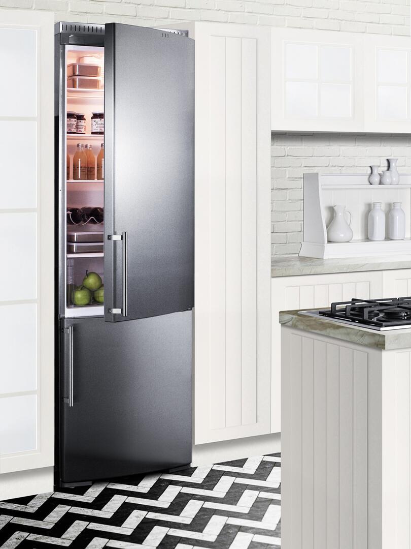 Summit FFBF181SSBI 24 Inch Counter Depth Bottom Freezer Refrigerator ...