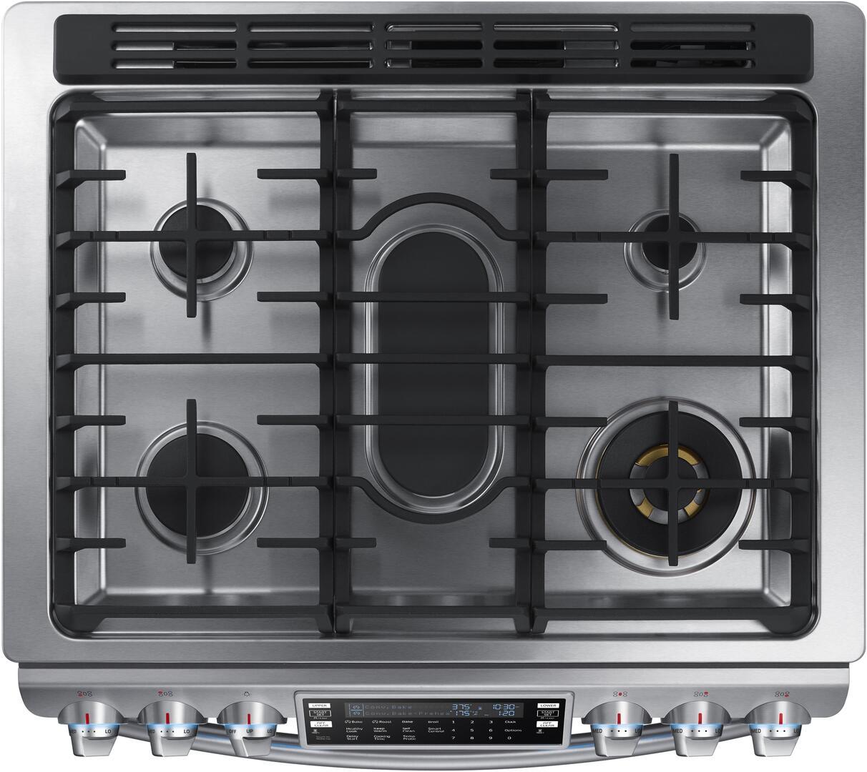 samsung nx58k9850ss 30 inch smart stainless steel slide in gas range with sealed burner cooktop. Black Bedroom Furniture Sets. Home Design Ideas