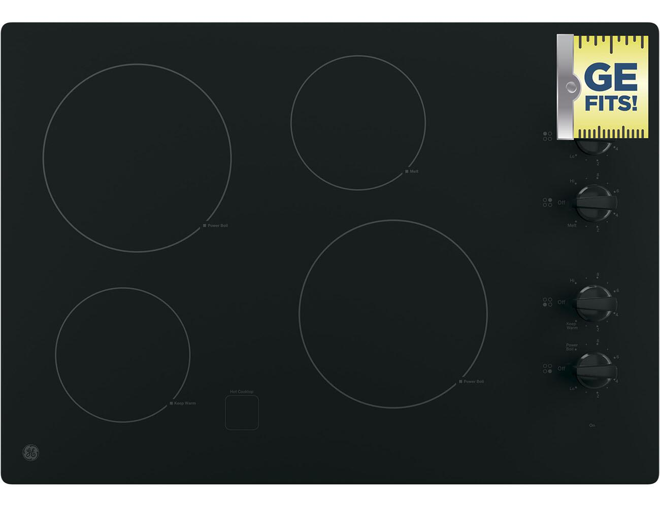 Ge jp3030djbb 30 inch 4 element electric cooktop in black ge ge fits fandeluxe Choice Image