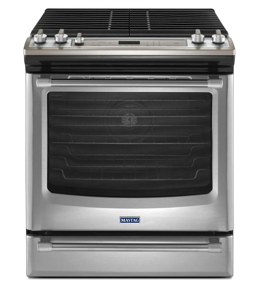 maytag mgs8880ds 30 inch slide in gas range with sealed burner cooktop 5 8 cu ft primary oven. Black Bedroom Furniture Sets. Home Design Ideas