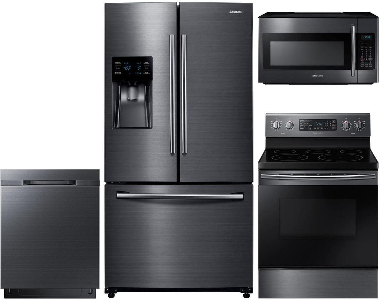 Samsung 989265 4 piece Black Stainless Steel Kitchen Appliances Package