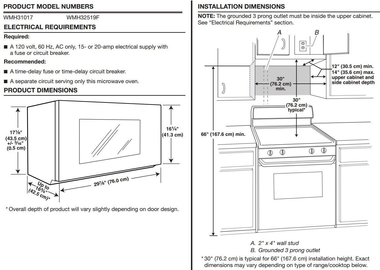 Installation of microwaves over the range - Whirlpool Wmh32519fb 1 9 Cu Ft Over The Range Microwave Oven