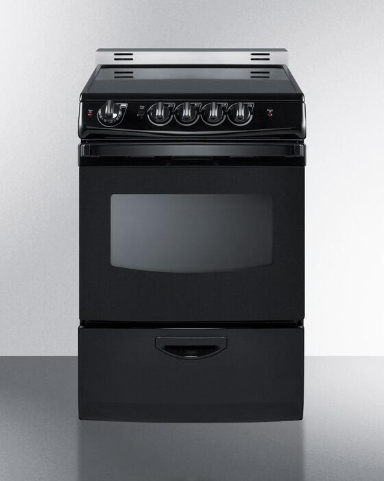 Electric Range Smooth Top Cooking Surface Summit On In: Summit REX243BRT 24 Inch Black Slide-in Electric Range