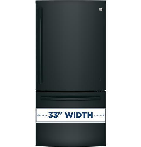 Ge Gde25egkbb 33 Inch Bottom Freezer Refrigerator With 24
