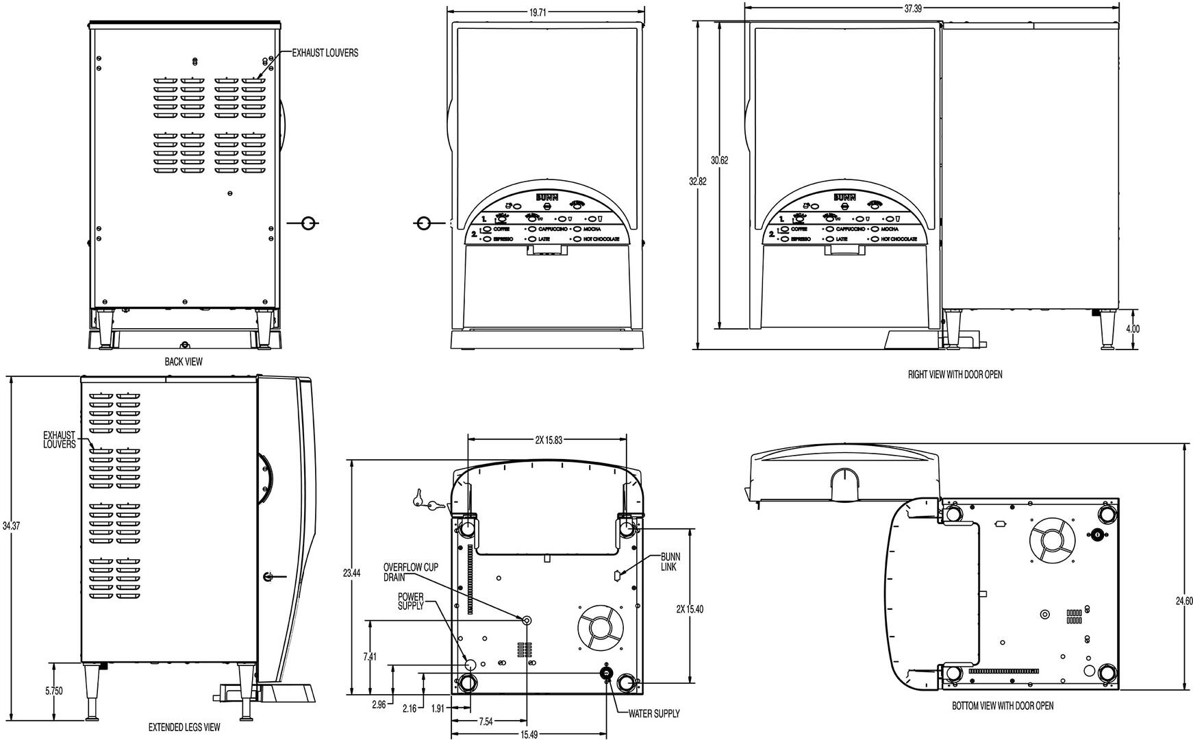Bunn O Matic 389000305 197 Inch Countertop Coffee And Tea Brewing Model Bx Wiring Diagram Dimension