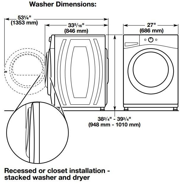 Stackable Washer And Dryer Dimensions The Amount Of Space