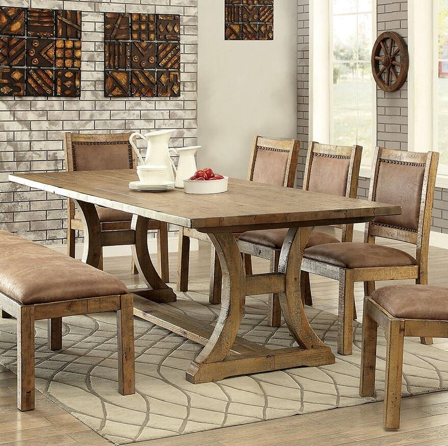d9ee595e98bf Furniture of America Gianna Dining Table CM3829TTABLE Rustic Pine ...