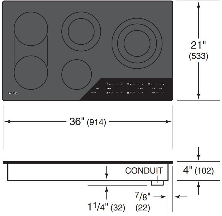 Wolf Ce365cb 36 Inch 5 Element Electric Cooktop  In Black