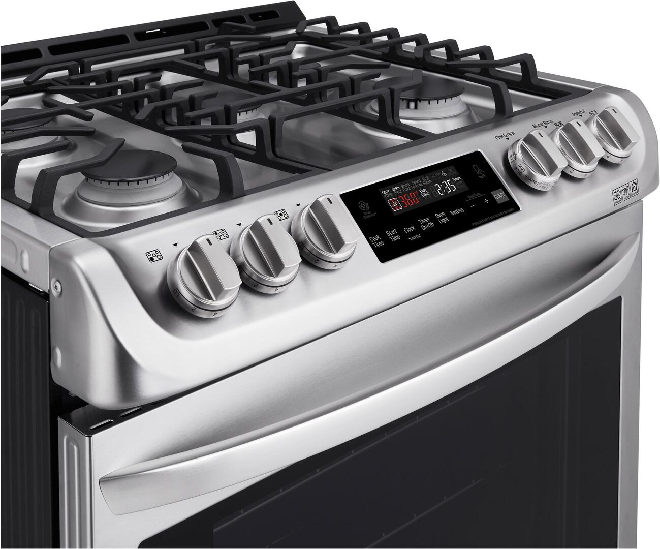 Kitchen gas stove top view -  Lg Control Panel View