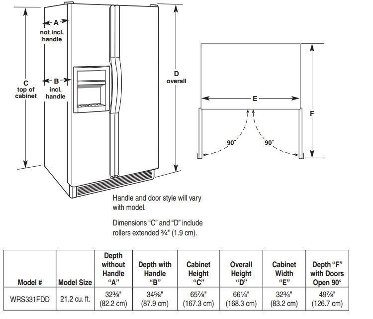 whirlpool wrs331fddm 33 inch side by side refrigerator