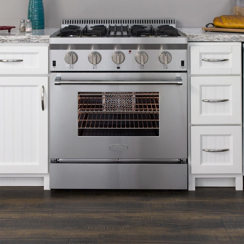 Aga apro30agss 30 inch professional series stainless steel for Best slide in gas range under 2000