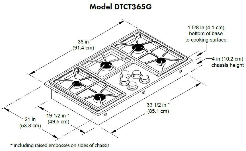 dacor dtct365gw 36 u0026quot  distinctive series gas cooktop with 5 sealed burners  permaclean bead