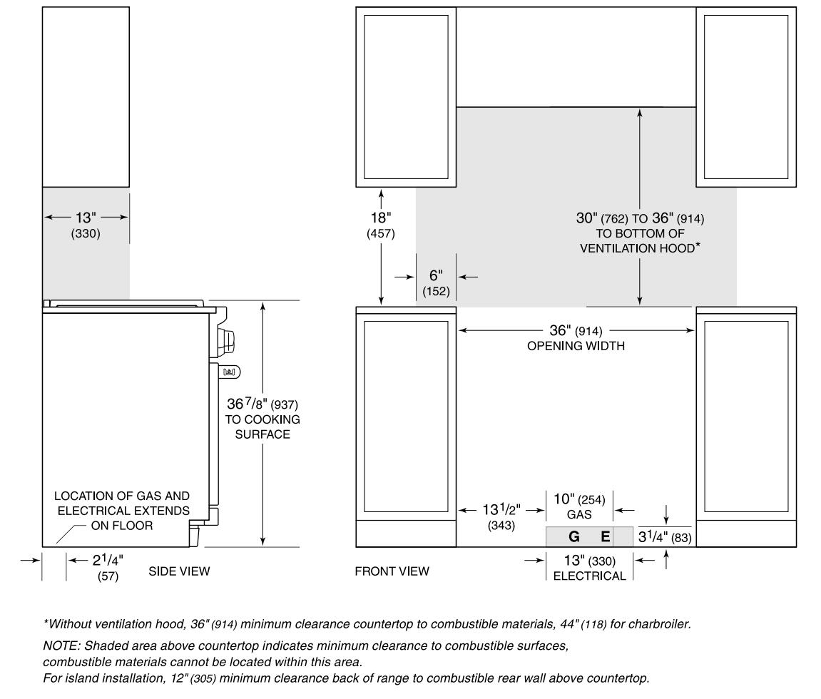 Wolf Df364c 36 Inch Stainless Steel Dual Fuel Freestanding Range Wiring Diagram For Oven Installation Cutout Controls