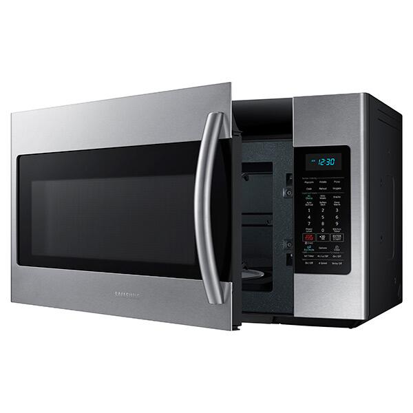 samsung me18h704sfs 1 8 cu ft over the range microwave oven with 400 cfm 1000 cooking watts. Black Bedroom Furniture Sets. Home Design Ideas