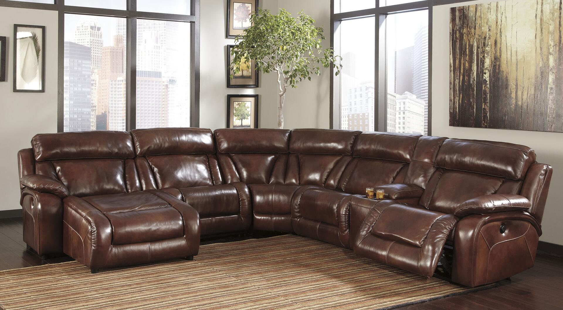 Signature design by ashley u99201sec6l elemen series for Brown leather couch with studs