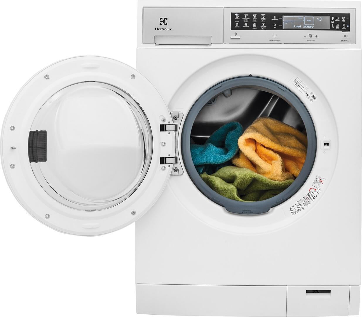White Compact Electrolux Front Load Washer And Dryer Set