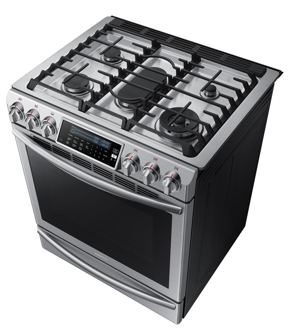 Kitchen gas stove top view -  Samsung Appliance Top Angled View