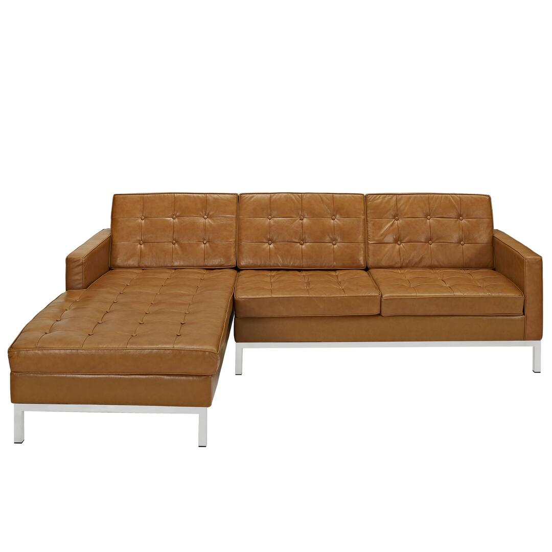Modway eei1046tan loft series sofa and chaise leather sofa for Furniture 5 years no interest