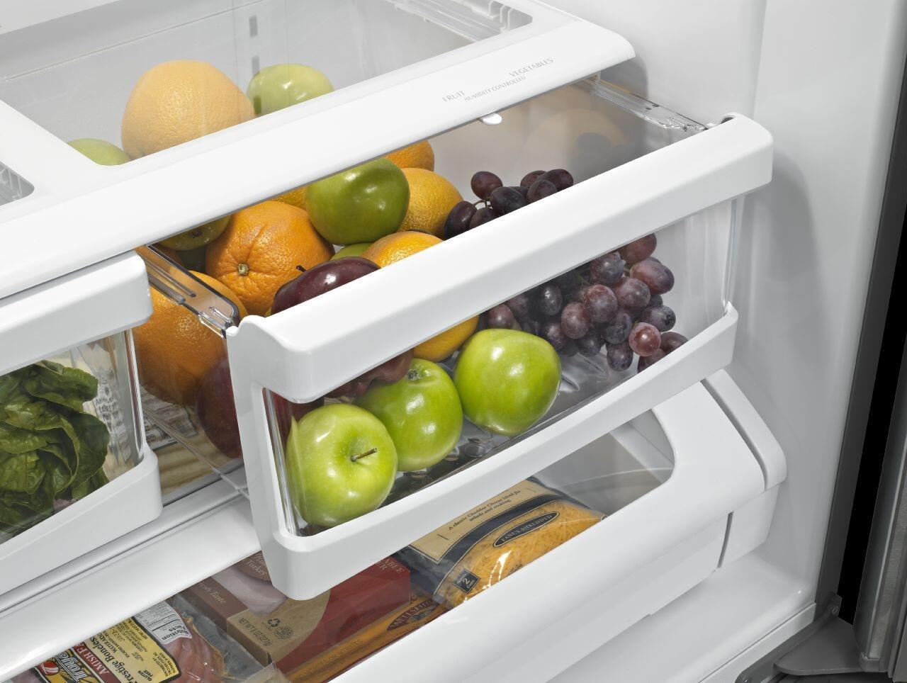 maytag mff2558few 36 inch french door refrigerator with 25.19 cu