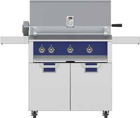 "Aspire Series 36"" Liquid Propane Grill with ECD36BU Tower Grill Cart with Two Doors, in Prince Blue"