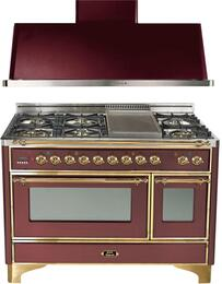 "2-Piece Burgundy Kitchen Package with UM120FDMPRB 48"" Freestanding Dual Fuel Range (Brass Trim, 6 Burners, Griddle) and UAM120RB 48"" Wall Mount Range Hood"