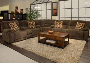 Hammond Collection 1441-8-9-2776-19/2777-49 3-Piece Sectional with Reclining Sofa, Corner Wedge and Reclining Loveseat in Mocha and Pillows in Spice