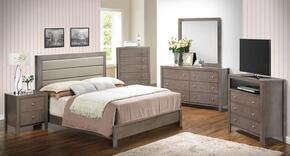 G2405AQBSSET 6 PC Bedroom Set with Queen Size Panel Bed + Dresser + Mirror + Chest + Nightstand + Media Chest in Grey Finish