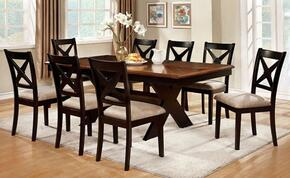 Liberta Collection CM3776T8SC 9-Piece Dining Room Set with Rectangular Table and 8 Side Chairs in Dark Oak & Black Finish