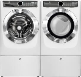 "Island White Front Load Laundry Pair with EFLS617SIW 27"" Washer, EFME617SIW 27"" Electric Dryer and 2 EPWD157SIW Pedestals"