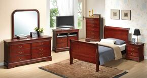 G3100ATBSET 6 PC Bedroom Set with Twin Size Sleigh Bed + Dresser + Mirror + Chest + Nightstand + TV Chest in Cherry Finish