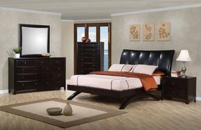 Phoenix Collection 300356QSET 5 PC Bedroom Set with Queen Size Bed + Dresser + Mirror + Chest + Nightstand in Cappuccino Finish
