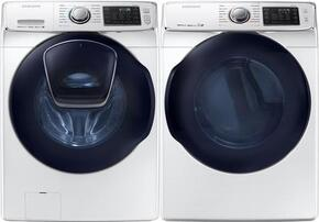 "White Front Load Laundry Pair with WF45K6500AW 27"" Top Load Washer and DV45K6500EW 27"" Electric Dryer"