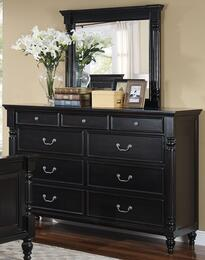 "00-222-050-00-222-060 Martinique 64"" Dresser with Mirror, Carved Detailing, Decorative Hardware, and Turned Legs, in Black"