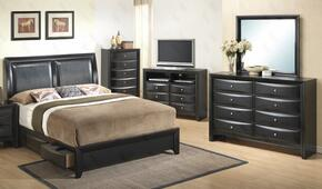 G1500DDTSB2CHDMTV 5 Piece Set including Twin Size Bed, Chest, Dresser, Mirror and Media Chest  in Black