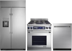"3-Piece Stainless Steel Kitchen Package with DYF42SBIWS 42"" Side by Side Refrigerator, ER30DSCHLP 30""  Freestanding Dual Fuel Range, and DDW24M999US 24"" Fully Integrated Dishwasher"
