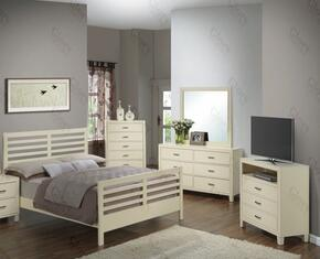 G1290CTB2CHDMTV 5 Piece Set including Twin Size Bed, Chest, Dresser, Mirror and Media Chest  in Beige