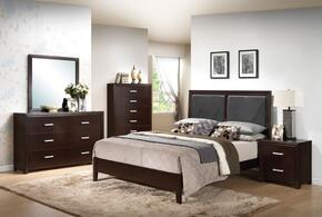 Ajay 21417EK5PC Bedroom Set with Eastern King Size Bed + Dresser + Mirror + Chest + Nightstand in Espresso Finish