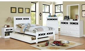 Cammi Collection CM7853BLFBDMCN 5-Piece Bedroom Set with Full Bed, Dresser, Mirror, Chest, and Nightstand in Blue and White Finish