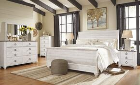Willowton King Bedroom Set with Sleigh Bed, Dresser, Mirror and Single Nightstand in Whitewashed Color