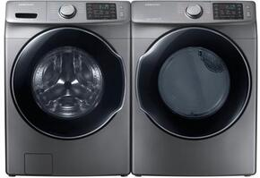 "Platinum Front Load Laundry Pair with WF45M5500AW 27"" Front Load Washer and DVG45M5500P 27"" Gas Dryer"