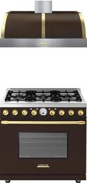 2-Piece Brown Matte with Gold Accent Kitchen Package with RD361SCMG 36