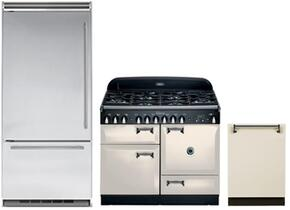 """3-Piece Kitchen Package with ALEG44DFIVY 44"""" Freestanding Dual Fuel Range, MP36BF2LS 36"""" Counter Depth Bottom Freezer Refrigerator, and ALTTDWIVY 24"""" Built In Fully Integrated Dishwasher in Ivory"""
