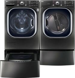 "Black Stainless Steel Laundry Pair with WM4370HKA 27"" Washer, DLGX4371K 27"" Gas Dryer, WDP4K Pedestal, and WD100CK SideKick Washer Pedestal"