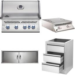 "4-Piece Stainless Steel Kitchen Package with BIPRO500RBPSS2 31"" Liquid Propane Grill, BISZ300PFT 20"" Side Burner, N3700358SS1 Double Access Door, and IM2DC 24"" Storage Drawer"